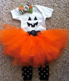 Baby  Toddler costume Halloween outfit Pumpkin by Sparkologie, $40.00