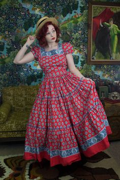 Vintage 1940s Red Print Full Length Patio Dress W/ bloomer Shorts! Scoot your boots on over yall! so stellar with extra sass-tacular full