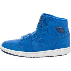Nike Air Jordan 1 Retro Sapphire High-Top Sneakers ($85) ❤ liked on Polyvore featuring men's fashion, men's shoes, men's sneakers, blue, mens hi top shoes, mens blue sneakers, mens leopard print shoes, mens lace up shoes and mens leopard print sneakers
