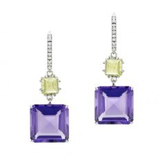 18K White Gold Diamond, Amethyst and Peridot Earrings. 6mm Square Cabochon Peridot 3.31 carats. 2 Square Step-cut Amethyst 21.47 carats. $ 3,000.00