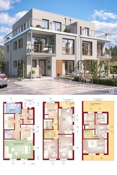 """Two Family House Floor Plans Side by Side Modern Contemporary European Style Architecture Design """"CELEBRATION 139 XL"""" - Dream Home Ideas with 3 Story & 4 Bedroom Layout by Bien Zenker - Arquitectura moderna casas planos - HausbauDirekt. Home Design Floor Plans, House Floor Plans, Plans Architecture, Architecture Design, Modern House Plans, Modern House Design, Semi Detached, Detached House, Casas The Sims 4"""