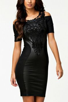 Love this Dress! Black is the new Black! Sexy Black Lace on Black LBD! Comfy Stretch Fabric!  Black Lace Spliced Off-shoulder Figure-hugging BodyCon Party