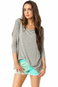 Comfy + Slouchy Grey Tee + Mint Shorts
