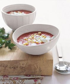 Gazpacho With Goat Cheese | Get the recipe for Gazpacho With Goat Cheese.