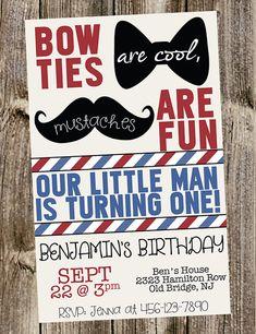 First Birthday Invitation Little Man mustache & bowties