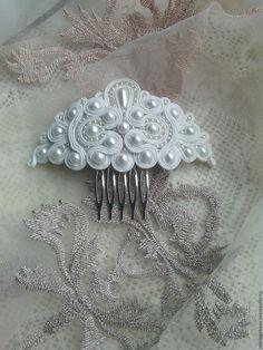 Купить Свадебное украшение.Комплект.Сутаж - комбинированный, сутажная техника, сутажные украшения, сутаж