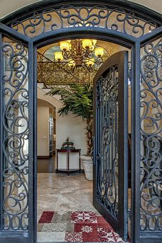 Take a look at this beautiful wrought iron door! Contact us for a free quote tod. Informations About Take a look at this beautiful wrought iron door! Contact us for a free quote tod. Iron Front Door, Front Door Entrance, Door Entryway, House Front Door, Entry Doors, Tor Design, Door Gate Design, Wrought Iron Doors, Steel Doors