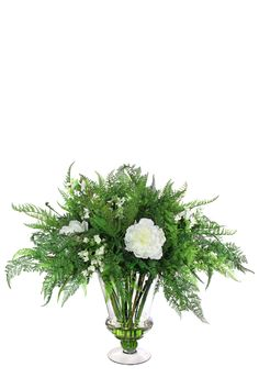 Greens with white Peony Arrangement Peony Arrangement, Silk Floral Arrangements, Corporate Flowers, White Peonies, Silk Flowers, Dandelion, Plants, Beautiful, Silk Flower Arrangements