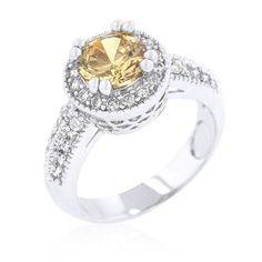 Zirconia Rhodium Halo Engagement Ring - Jewelry