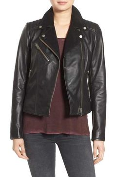 7 For All Mankind Suede Lapel Leather Moto Jacket