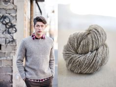 """Oshima (For Him) brioche yoked pullover by Jared Flood. Shown in color """"Woodsmoke"""". From Brooklyn Tweed's """"BT Men Volume 2"""" Collection. Photographed by Jared Flood. #btmenvolume2 #brooklyntweed #madeinUSA #shelteryarn #loftyarn #oshima #pullover"""