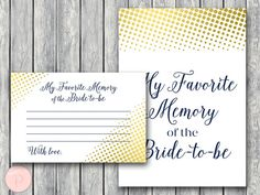 Gold My Favorite Memory of the Bride to-be Memory by BrideandBows #babyshowerideas4u #birthdayparty  #babyshowerdecorations  #bridalshower  #bridalshowerideas #babyshowergames #bridalshowergame  #bridalshowerfavors  #bridalshowercakes  #babyshowerfavors  #babyshowercakes