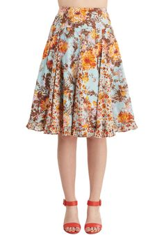 Brunch with Mum Skirt. Enjoy the most important meal of the week with your biggest style inspiration - the flowers on this flirtatious sky-blue skirt! #multi #modcloth