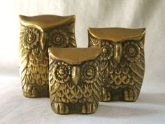 Vintage Trio Solid Brass Owl Family Figurines Paper by VivaVera, $20.00