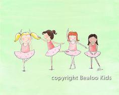 Ballerina Nursery Art, Dancers  8x10 Print