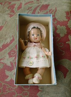"Vintage Vogue Ginny 1930 -1940s Composition 8"" Sunshine Baby - Predates Ginny - w/Original Blue Box Bottom"