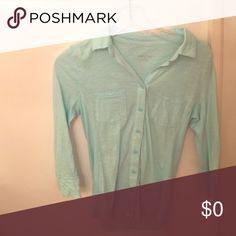 Xs light blue collared button down quarter length Xs light blue collared button down quarter length sleeve shirt Merona Tops Button Down Shirts