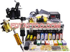 Professional Tattoo Guns Kit Completed Set with 2 Tattoo Guns and LED Power Supply Colors) - Focus Vogue Tattoo Machine Kits, Rotary Tattoo Machine, Professional Tattoo Kits, Tattoo Equipment, Tattoo Needles, Tattoo Supplies, Bubblegum Pink, Rubber Bands, Led