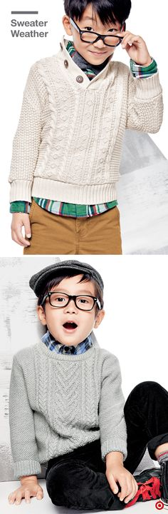 There's something so versatile about a cable knit sweater—it's just as appropriate for your little guy's everyday look as it is for a festive holiday celebration. Plus, it's a great seasonal layering piece, because it looks equally cool over a plaid shirt, as it does under a parka. Pair it with some boots and he'll be ready to beat any chill.