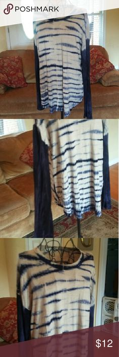 Shirt Blue and gray tie dye long sleeve shirt. Karen Kane Tops