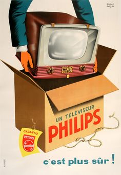 """- Philips televisores - Publicidad vintage de los primeros televisores de la decada del """" 50 . Lo que vendria despues , es otra historia . . . @swami1951"""