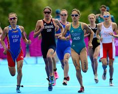 Helen Jenkins of Great Britain paces the field in the running portion of the triathlon on Saturday. #london2012