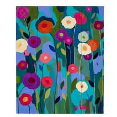 """DiaNocheDesigns Good Morning Sunshine Flowers by Carrie Schmitt Painting Print Plaque Size: 20"""" H x 16"""" W x 1"""" D"""
