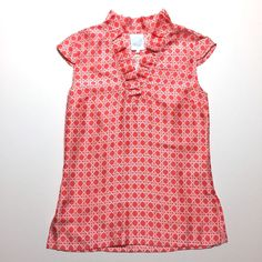 Devon Baer Cane Cap Sleeve Ruffled Collar Top Blouse Coral White Retail $188 #DevonBaer #Blouse #Casual
