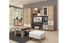 Mobila pentru sufragerie PEK9,  Culoare: Sonoma stejar + alb lucios Corner Desk, Tall Cabinet Storage, Tv, Furniture, Home Decor, Desktop, Corner Table, Decoration Home, Room Decor