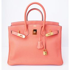 Authentic Hermes Birkin 35 Crevette Peach Pink Bag Gold Hw New ❤ liked on  Polyvore featuring b5d9916bfb3a7