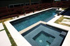 rectangular pools design with spa | modern pool and spa, A view of my modern rectangular pool and spa ...