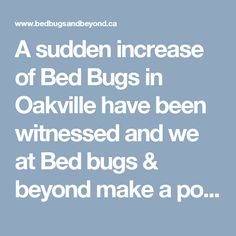 A sudden increase of Bed Bugs in Oakville have been witnessed and we at Bed bugs & beyond make a point to assist you to get rid of creepy looking creatures in no time.