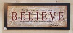 BELIEVE wood sign with bible verse John 3:16  hand painted background and mixed media by Laurie Sherrell Maurey by lauriesherrell on Etsy