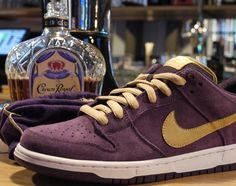"""Inspired by Canada's preferred Whisky is the all new upcoming """"Crown Royal"""" Nike SB Dunk Low. Nike Skateboarding, Sneaker Magazine, Nike Sb Dunks, Crown Royal, Dunk Low, Designer Shoes, Nike Air, Sneakers Nike, Kicks"""