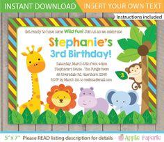 safari invitation / Safari Birthday invitation / Jungle Safari Invitation / Safari Invite / Zoo Birthday Invitation / INSTANT DOWNLOAD by ApplePaperie
