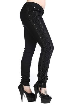 Corset  Side Lace Up Skinny Jeans by Banned Apparel - in black