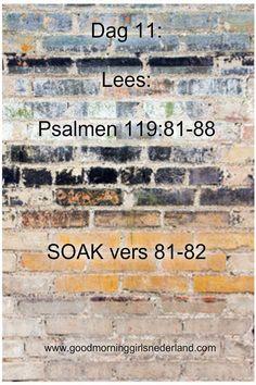 De elfde letter is: Kaph Ook al wordt je oud, vergeet je niet God zijn wetten. Lees zelf maar in vers 83. In vers 84 vraagt Ezra zelfs om wanneer God afrekent met zijn vijanden. Durf jij dat aan Go…
