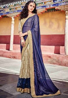 Beautiful Beige and Navy Blue Designer Saree