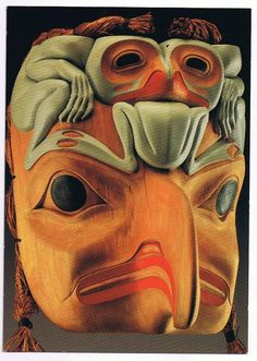 "A contemporary wood carving made by Terry Star, entitled ""Eagle with Frogs"" Wood, paint and cedar. The artist is a member of the Tsimshian eagle clan and received training at the Royal British Columbia Museum. Arte Inuit, Inuit Art, Native American Masks, American Indian Art, Arte Tribal, Tribal Art, Frog Mask, Native Design, Masks Art"
