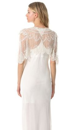 Gorgeous details on this bridal capelet from Jenny Packham