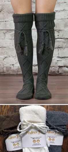 I want these socks! So cute. I want to wear them while snuggled up by the fire, reading a book, and drinking some cocoa! These tall boot socks are calling my name!