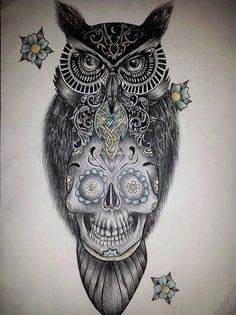Sugar skull owl tattoo design