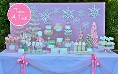 Pink, green, aqua tablescape.  So pretty!  Love the candy trees.