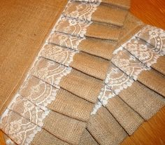 CUSTOM ORDER  Burlap Ruffles & Lace Table by TheGoodnessCentric