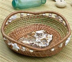 """""""Sea Cliffs"""" pine needle and sweet grass basket by Vicki Phillips."""