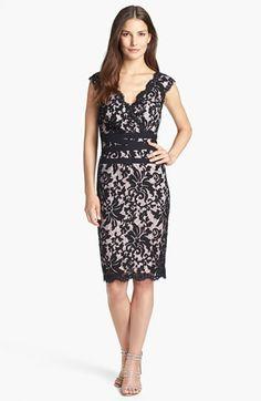 Tadashi Shoji Lace & Tulle Sheath Dress (Regular & Petite) | Nordstrom