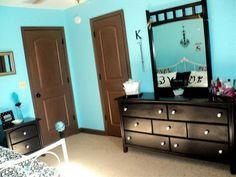 Tiffany Blue Bedroom Black White And We Painted Her Brown Furniture