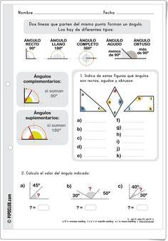 """""""Tipos de ángulos"""" es una bonita y sencilla ficha de trabajo, de Pipoclub.com, sobre tipos de ángulos según su medida. Go Math, Math For Kids, Math Resources, Math Activities, Mathematics Geometry, Abc Centers, Bilingual Classroom, Math Boards, Homeschool Math"""