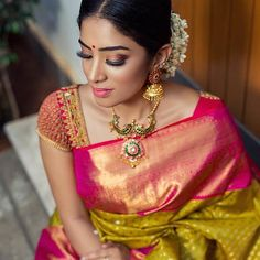 Jewelry from Other Credits : Saree : Photography : Blouse :… Silk Saree Blouse Designs, Saree Blouse Patterns, Fancy Blouse Designs, Bridal Blouse Designs, South Indian Blouse Designs, Indian Bridal Sarees, South Indian Sarees, Bridal Lehenga, Sari Design
