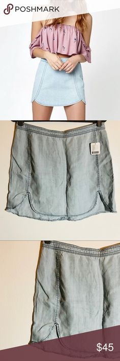 urban outfitters • chambray tulip hem denim skirt condition: new with tags  Size 12 Zip back Tulips the scalloped hem Thin chambray weight brand is Coincidence and a chance by Urban Outfitters  NO TRADES  trusted seller for years • ships quickly great feedback • REASONABLE offers welcome Urban Outfitters Skirts Mini